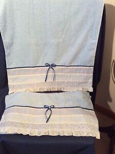 "2 Vintage Cannon Cotton Bath Towels Blue w Eyelet Border Ribbon Trim  20.5 x 39"""