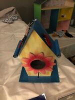 COLORFUL DECORATIVE ALL METAL BIRD HOUSE - BLUE ROOF