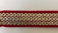 ATTRACTIVE INDIAN 3 ROWS GOLD CIRCLE SEQUINS RED VALOUR FABRIC TRIM/LACE-1 MTR