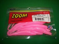 Zoom Super Salt Plus Salty Super Fluke Bubblegum / Pink Bass Fishing Lure 10 ct
