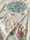 Antique Victorian China Hand Embroider Silk Piano Table World Tapestry Flowers