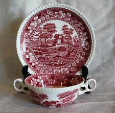 Vintage Spode Pink Tower Transferware double handled Cream Soup Bowl under plate