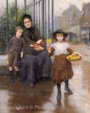 The Pinch of Poverty by Thomas B Kennington Art Mother Children 8x10 Print 0782