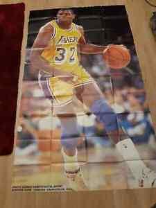 Earvin Magic Johnson Lakers BIG Poster 46x96 Bryant Jordan Rodman Jersey GameNBA