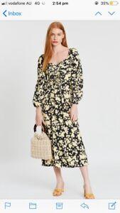 Topshop Daisy Floral Pleated Bust Midi Dress UK 8/ AU 8 Fantastic Condition