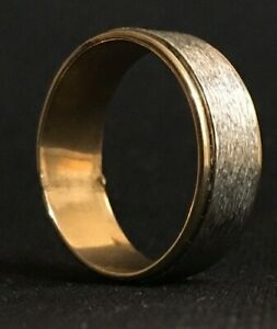 10k gold filled & silver men's band two-tone ring size 10.25 - wedding band