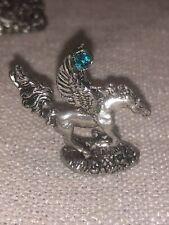 Vintage Cci #4119 Pewter Pegasus Horse W/ Wings & Turquise Teal Blue Gem