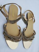 Shoedazzle Sandals Slingback with STRAPPY FRONT & CHAINS SIZE 6.5