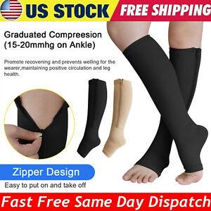 1-5 Pair Zippered Open Toe Compression Socks 20-30mmHg Calf Leg Support Stocking