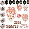 Rose Gold Happy Birthday Banner Balloons 16/18/21st/30/40/50/60th Birthday Party
