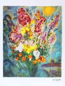 Marc CHAGALL Original Bouquet Facsimile Signed Art Print 36 x 26
