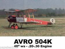 "Model Airplane Plans (RC): AVRO 504K 48"" 1/9 Scale for .20-.30 Engines"