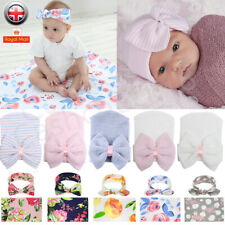 Newborn Baby Infant Hat Swaddle Blanket Sleeping Bag Wrap Headband Beanie Cap UK