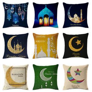 "18"" Ramadan Decor Cushion Cover Islam Gold Moon Star Pillow Case Home Décor"