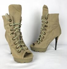 Jean Michel Cazabat Army Green Lace Up Open Toe Booties Stiletto Size 36.5
