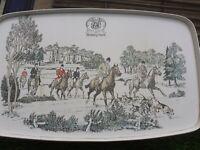 "Vintage ""Berkley Hunt"" Melamine Serving Tray 40cm x 25cm Hunting Equestian Rare"
