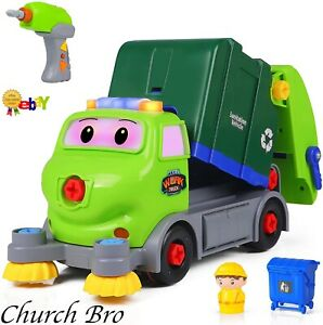 Take apart vehicle toys, diy garbage truck with built-in lights and music R/C