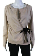 Jill Stuart Womens Long Sleeve Tie Waist Wrap Cardigan Brown Size Medium