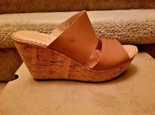 "Born ""Adria"" Leather Cork Wedge Platform Sandal Light Brown/Tan Size 8 NIB!"