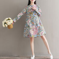 Ladies Floral Linen Cotton Long Sleeve Midi Dress Frog Button Chinese Cheongsam