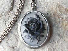 BLACK ROSE ON FROSTED CAMEO ANTIQUED SILVER PLATED LOCKET -VICTORIAN, PUNK,