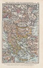 Landkarte map Lithografie 1926: Die Staaten der Balkanhalbinsel I/II.