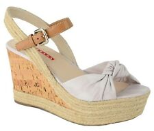 $520 PRADA SHOES SUEDE LEATHER KNOT CORK WEDGE ROPE DETAIL sz 40/ 10