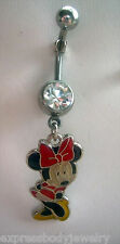 Navel Belly Button Ring 14g Mouse Dangle CZ GEM  Yellow Black Red
