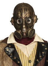 Victorian Steampunk Gas Mask Mens Latex Fancy Dress Halloween Costume Masque NEW