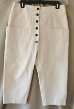 Celine Beige Cotton High Waist Drop Crotch Cropped Pants Size 38