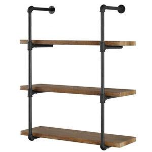 "3 Tier Wall Shelf Industrial Iron Pipe Shelving Mounted Bookshelf Bracket 36""(H)"