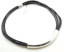 Signed JCM Sterling Silver & Leather Multi Strand Choker Necklace QVC New NIB