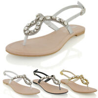 Womens Flat Holiday Diamante Back Strap Ladies Sparkly Sandal Shoes Size