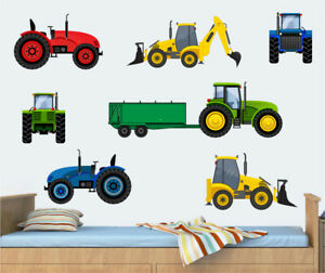 Tractors & Diggers Wall Art Vinyl Stickers Bedroom Farm Vehicle Truck Farm JCB