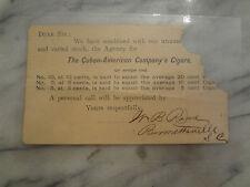 Late 1800s Cuban-American Company's Cigars Advertising Price List Postcard