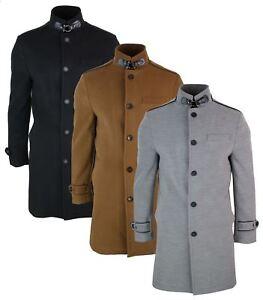 Veste longue manteau 3/4 col Mao montant décontracté chic hiver homme