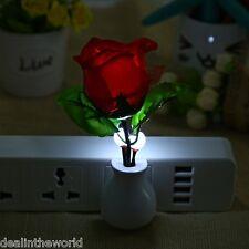 Bedroom Rose Flower Shape LED Sensor Night Light Wall Lamp with Plug