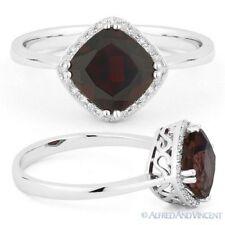 2.09 ct Cushion Cut Garnet Gem & Diamond Halo Engagement Ring in 14k White Gold