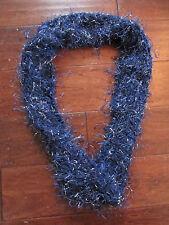 "Women's Handmade Boho Hippy Crochet Blue Knit Cowl Inifinity Scarf 24"" Long"