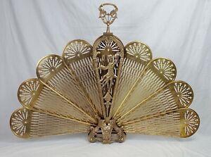 Antique Art Deco Brass & Copper Folding Fireplace Screen with Woman Décor