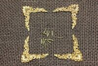 "4 old decorative Brass Corners Picture Frame Clock 1 1/4"" Appliques ADORNMENTS"