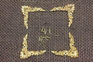 "4 old decorative Brass Corners Picture Frame Clock 1 1/4"" Appliques ADORNMENTS"