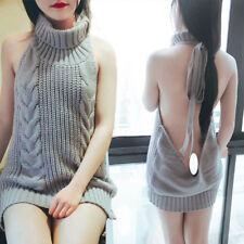 Women Backless Sleeveless Virgin Killer Pullover Cosplay Sweater Turtleneck Knit
