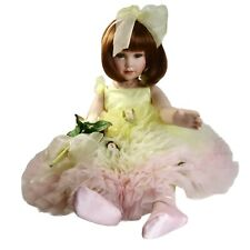 """""""Peace"""" Marie Osmond Coming Up Roses Collection, Pink Yellow Rose Porcelain Doll"""