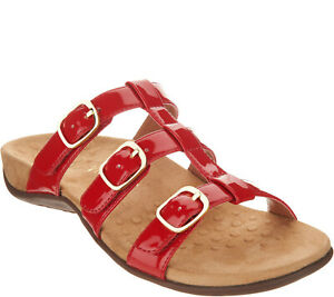 Vionic Adjustable Slide Sandals - Misa Red 9 M