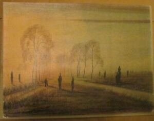 "Anton Richter (1900-1962) ABENDS AM TAUNUS Color Sketch 11.5"" by 15.5"""