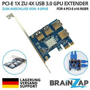 PCI-E PCIe Express Riser Karte Adapter x1 4-Port x16 USB 3.0 Mining GPU Extender