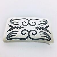 Vintage Sterling Silver HOPI Carved Belt Buckle 66 Grams