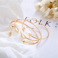3Pcs/Set Simple Women Gold Open Adjustable Cuff Bracelet Bangle Trendy Jewelry