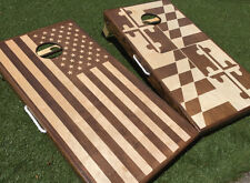 Stained American and Maryland Flags Cornhole Board Set